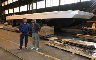 Bei der Boots-Baubesprechung: Dorothee Wiebe mit dem Chef guy Zins 😁😷